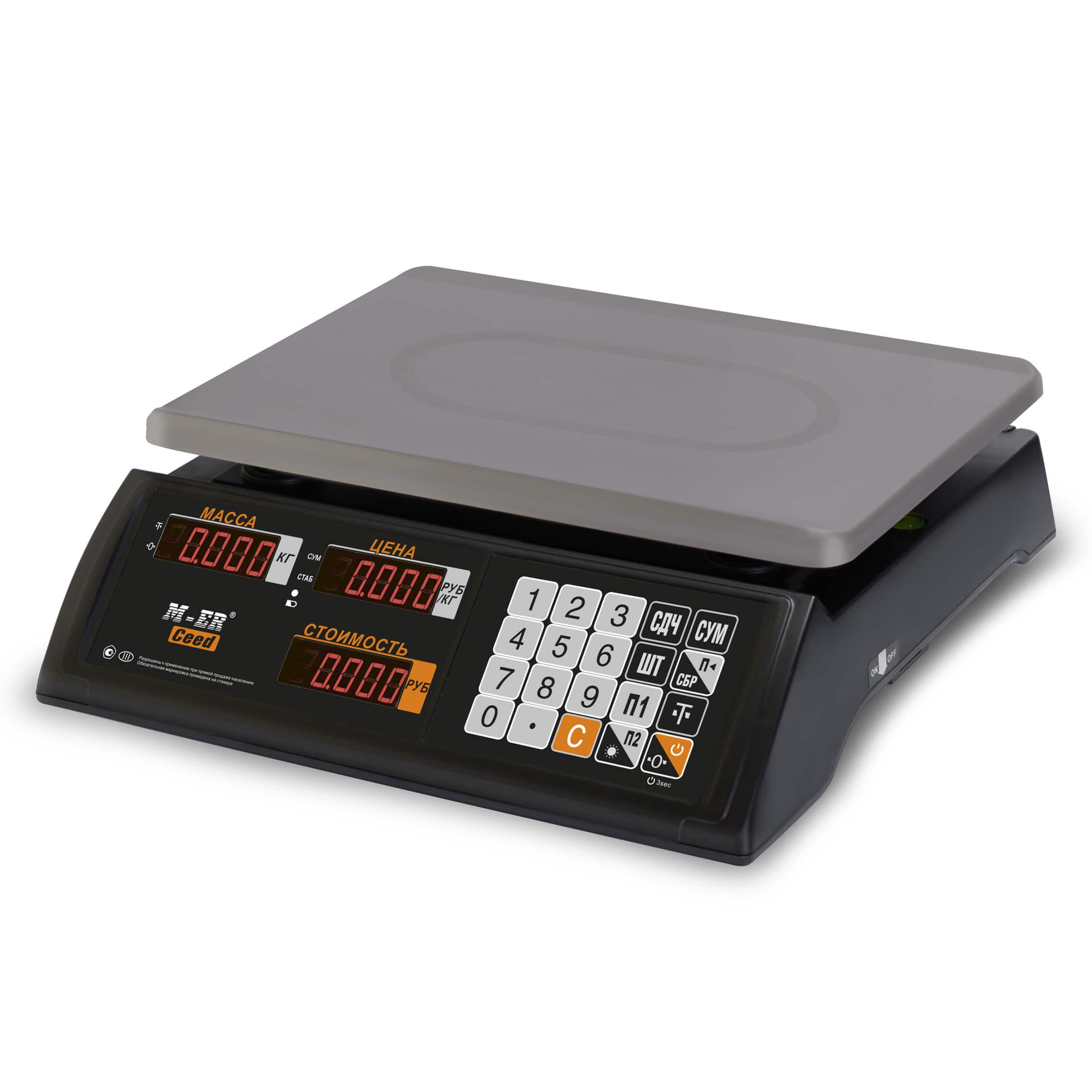 Торговые настольные весы M-ER 327 AC-15.2 «Ceed» LED Черные