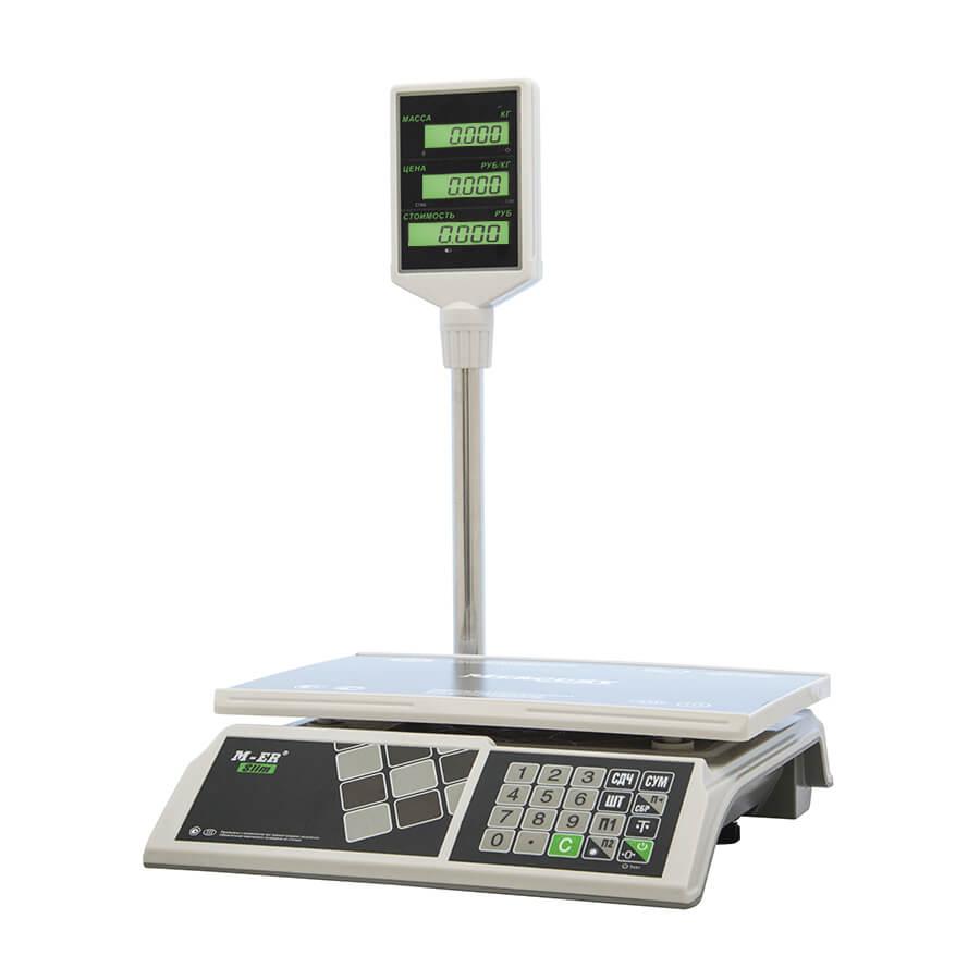 Торговые настольные весы M-ER 326 ACP-32.5 «Slim» LCD Белые