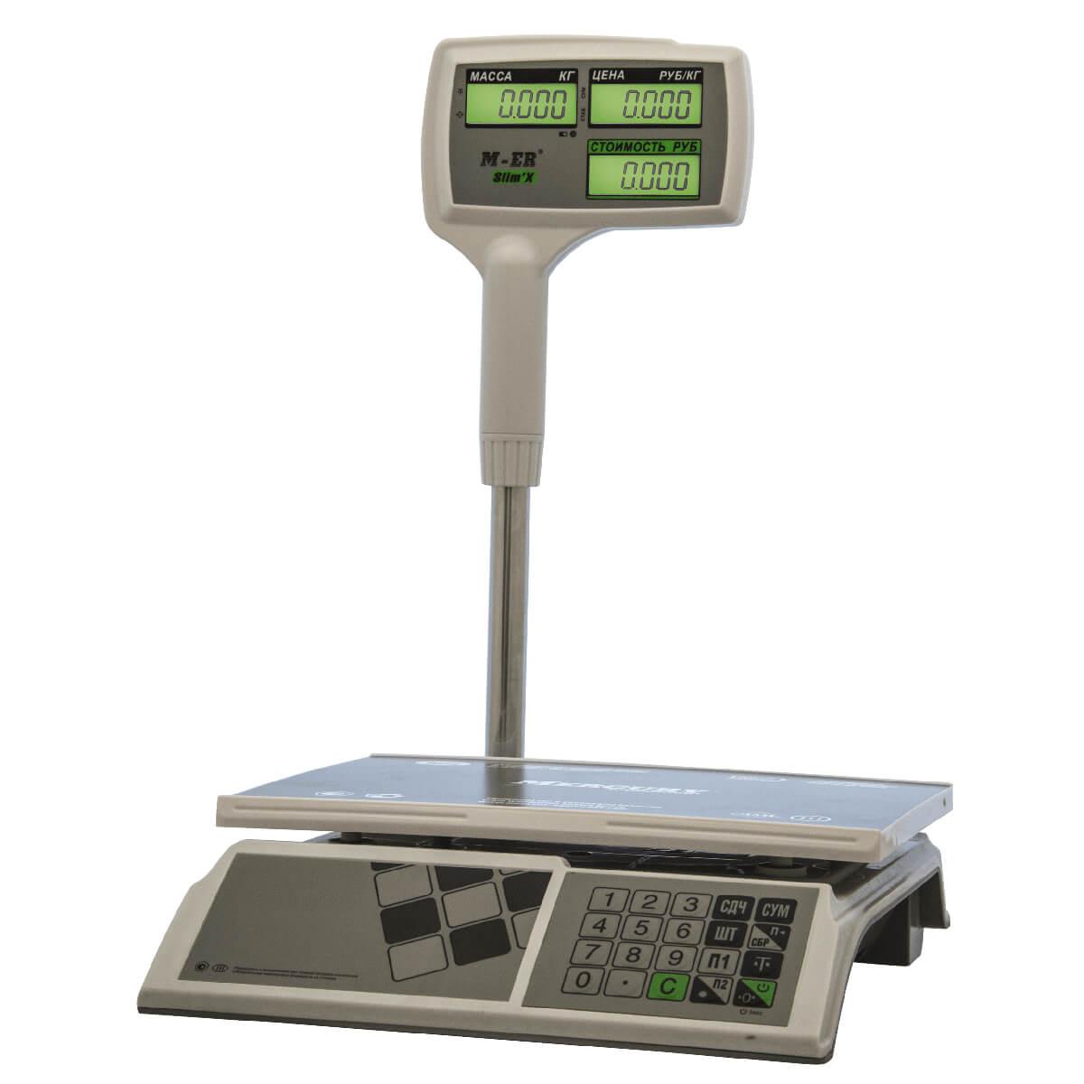 Торговые настольные весы M-ER 326 ACPX-15.2 «Slim'X» LCD Белые